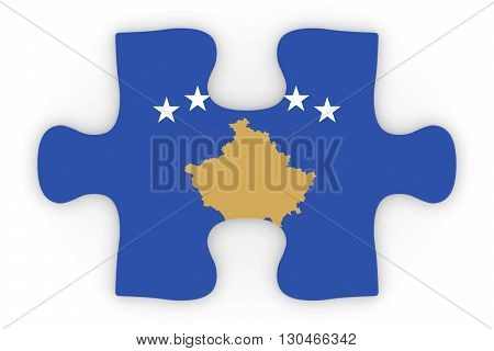 Kosovan Flag Puzzle Piece Top Down Orthographic 3D Illustration