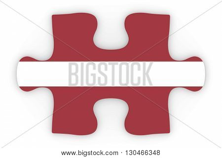 Latvian Flag Puzzle Piece Top Down Orthographic 3D Illustration