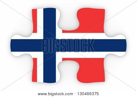 Norwegian Flag Puzzle Piece Top Down Orthographic 3D Illustration