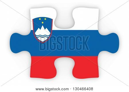 Slovenian Flag Puzzle Piece Top Down Orthographic 3D Illustration