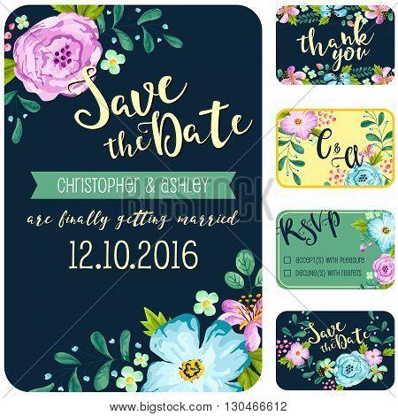 a vector of dark blue spring flower wedding invitation
