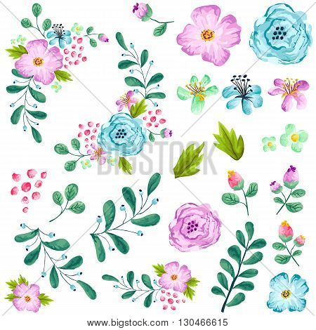 a vector set of preassembled spring flower
