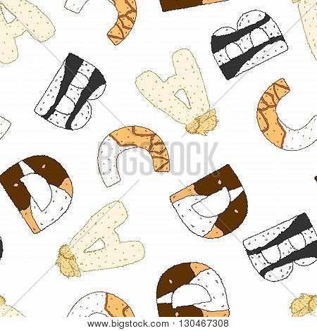 Seamless pattern with furry letters. Vector illustration isolated on white. Wallpaper for kids. Design for school and preschool