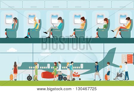 Passenger airline in airport terminal and Airline interior with plane seat and airplane passengers on the flight business travel vector illustration. poster