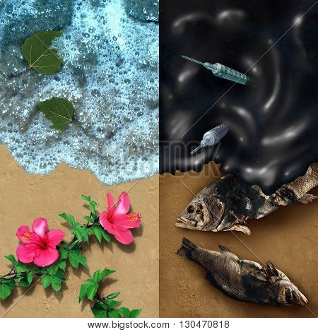 Environmental concept with a clean beach with natural plants and a dark contrasting opposite side with an oil spill disaster with dead fish and medical waste pollution with 3D illustration elements.