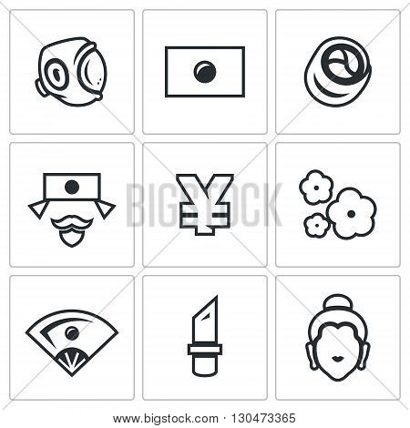 Symbols associated with Japan isolated on white background