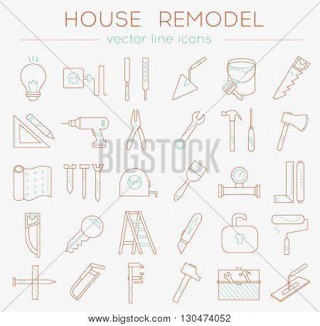 House_remodel_line_icons_orange_blue