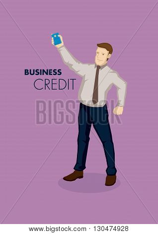 Cartoon businessman holding a corporate business credit card with text business and credit. Vector illustration on business credit concept isolated on purple background.