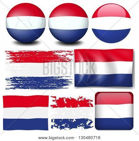 Nederland flag in different design illustration
