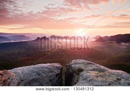 View Over Sandstone Cliff Into Deep Misty Valley In Saxony Switzerland. Sandstone Peaks Increased Fr