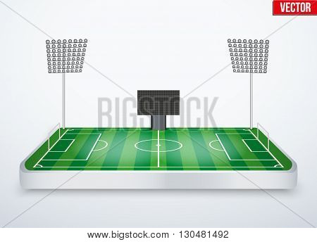 Concept of miniature tabletop football soccer stadium. In three-dimensional space. Vector illustration isolated on background.