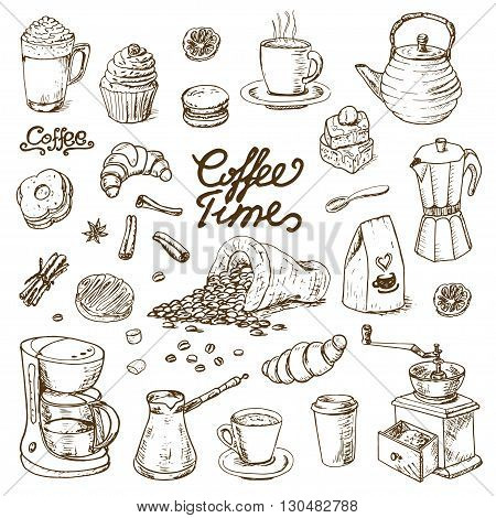 Collection of coffee doodle elements for cafe menu, fliers, chalkboard. Vector  illustration for your design