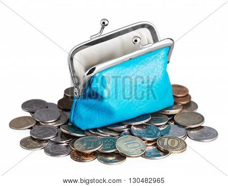 blue purse with falling coins. Isolated on white background