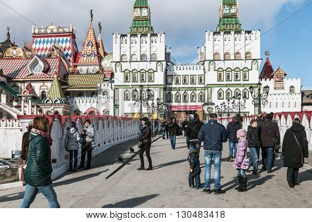 Moscow Russia - March 13 2016: Tourists and people walking along the Izmailovo Kremlin in Moscow. Feast of the great carnival