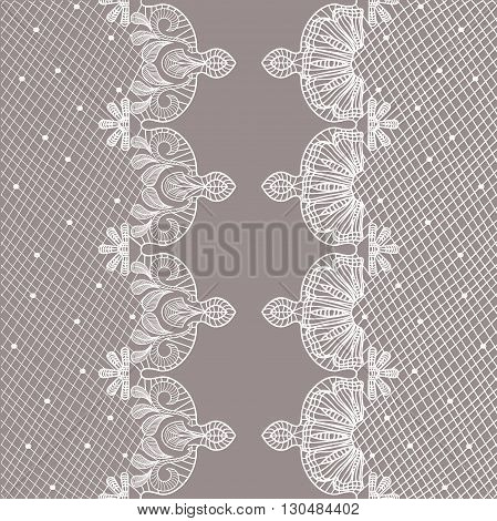 Vertical ornamental seamless pattern lace. floral tracery, ornamental ribbons. Vector illustration