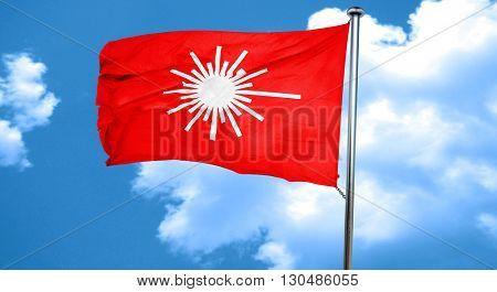 Laser warning sign, 3D rendering, a red waving flag