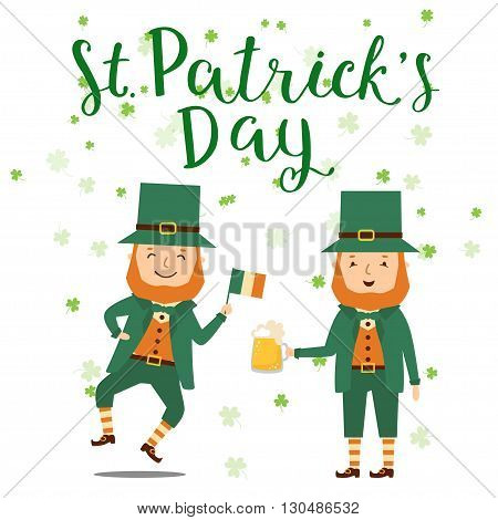 Leprechaun with lettering Saint Patrick Day card. Elements for holidays card decoration party poster. Greeting card for Patrick day. Vector illustration with Leprechaun with beer and flag