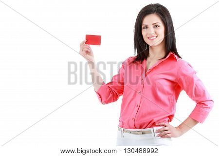 Beautiful smiling business woman isolated on white