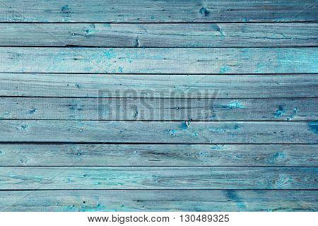 Vintage blue wooden background. Old weathered aquamarine board. Texture. Pattern. Wood background.