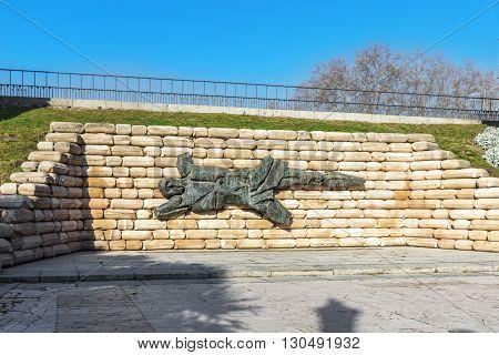 MADRID SPAIN - MARCH 23 2016: Broken Man - Spanish Civil War Monument Parque del Oeste Madrid. Spain.