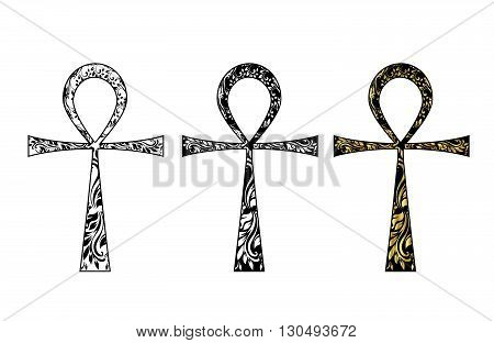 Ankh Symbol. Vector Egyptian Cross isolated on white. Black, white and gold icon set.