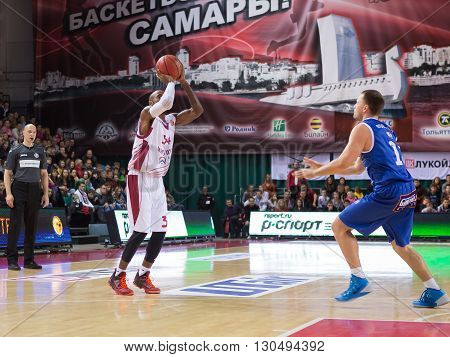 Bc Krasnye Krylia Guard Bracey Wright (34) Makes 3-point Shot