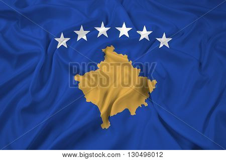 Waving Flag of Kosovo, with beautiful satin background poster