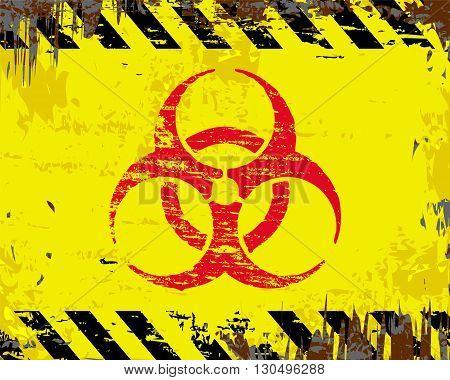 Biohazard symbol on grungy enamel metal sign