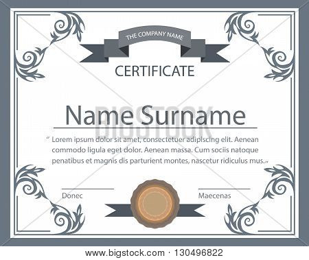 The certificate template with floral ornaments in baroque style. Isolated tape seal on a white background for design. Vector illustration