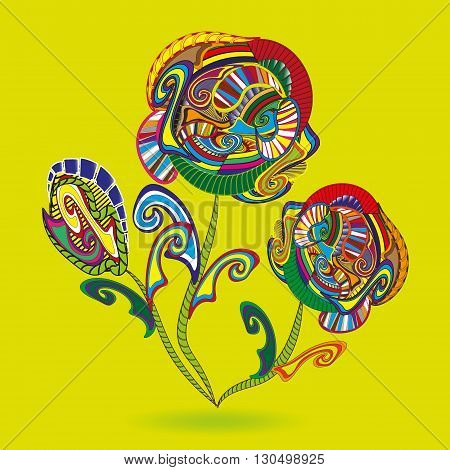 Drawing Flowers primitive doodle Illustration Three colorful flower with leaves primitive doodle style on a dark yellow background for decoration and design