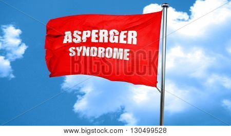 Asperger syndrome background, 3D rendering, a red waving flag