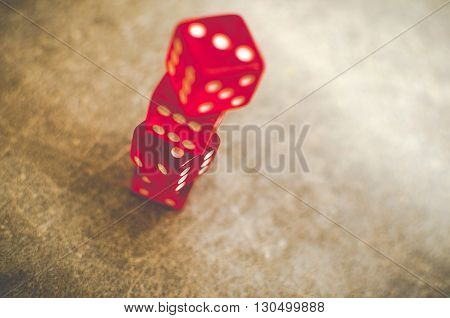 Risk Gambling Chance red dice stacked background