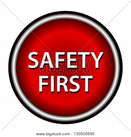 Red round safety first icon with white design on red background