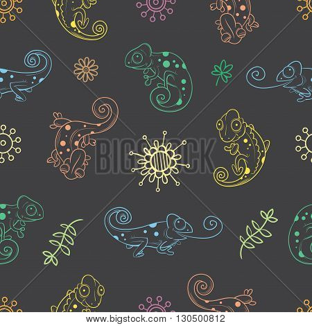 Seamless pattern with cute cartoon chameleons, plants and flowers on  dark background. Colorful  reptiles in different poses. Children's illustration. Vector contour image.