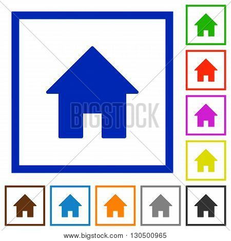 Set of color square framed home flat icons on white background