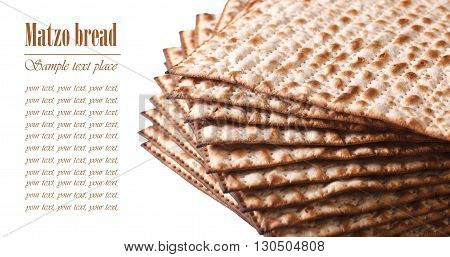 Pile Of Jewish Matza Flatbread Macro Isolated On White Horizontal. Text