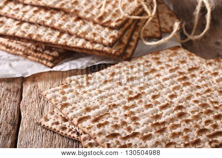 Jewish Kosher Matzah Macro On A Table. Horizontal