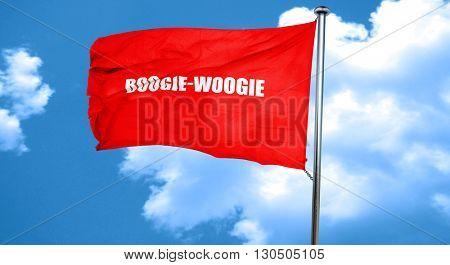 boogie woogie, 3D rendering, a red waving flag