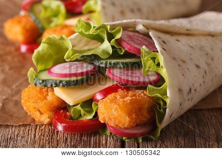 Sandwich Roll With Fish And Vegetables Macro. Horizontal