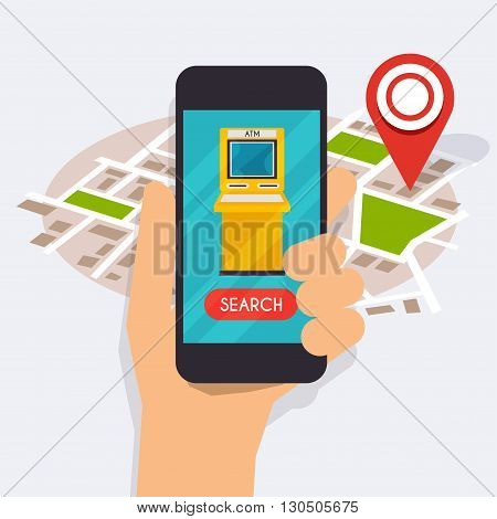 Hand holding mobile smart phone with mobile app atm search. Vector modern flat creative info graphics design on search atm application. Flat design modern vector illustration concept.