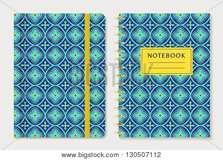 Notebook cover design. Notepad with elastic band and spiral notebook with abstract blue and yellow pattern. Oriental style collection. Vector set.