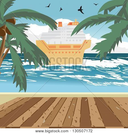 Sea landscape summer beach, wooden floor, cruise ship in the distance. View with palm trees on a beach in summer evening vacation. Evening summer background on beach. Vector flat illustration