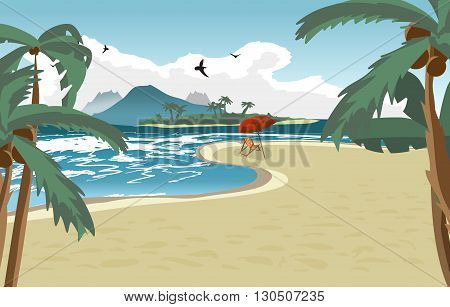 Sea landscape summer beach, palms, sun umbrellas, beach beds. Umbrellas and deskchair on a beach in summer vacation. Summer background on beach. Vector flat illustration