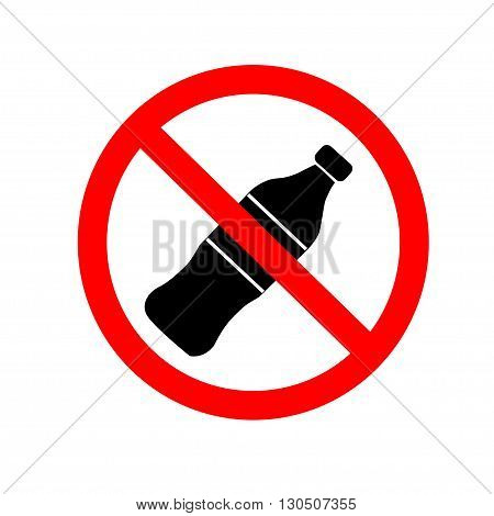 Do not drink icon. No drink sign isolated on white background. Red circle prohibition symbol. Stop flat symbol. Stock