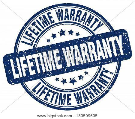 lifetime warranty blue grunge round vintage rubber stamp