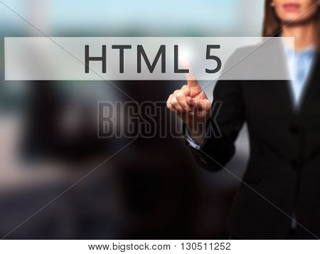 Html 5 - Businesswoman Hand Pressing Button On Touch Screen Interface.