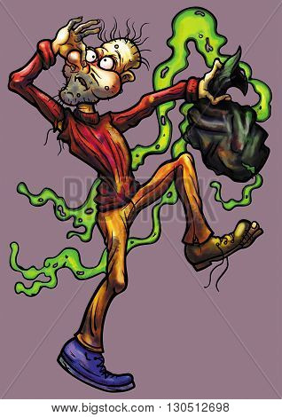Illustration untidy man with a malodorous trash bag in hypertrophied, grotesque cartoon style
