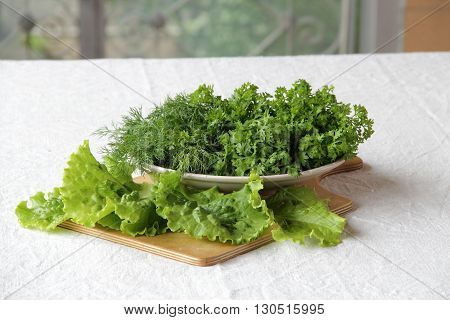 fresh watercress and dill in a bowl on the table