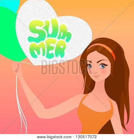 Summer vacation vector illustration. Hand drawn girl with balloons and lettering in pop art comics style.