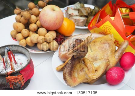 Boiled chicken for Sacrificial offering Chinese Culture